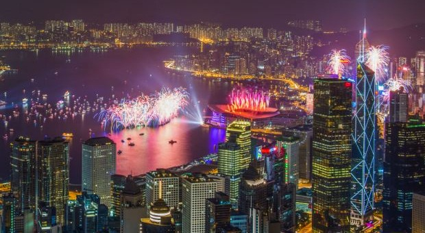 New Years Eve Fireworks in Hong Kong